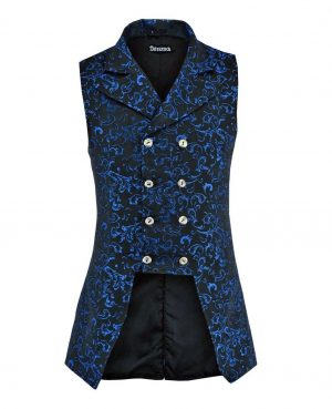 Double Breasted GOVERNOR Vest Waistcoat VTG Blue Brocade Gothic (Front)