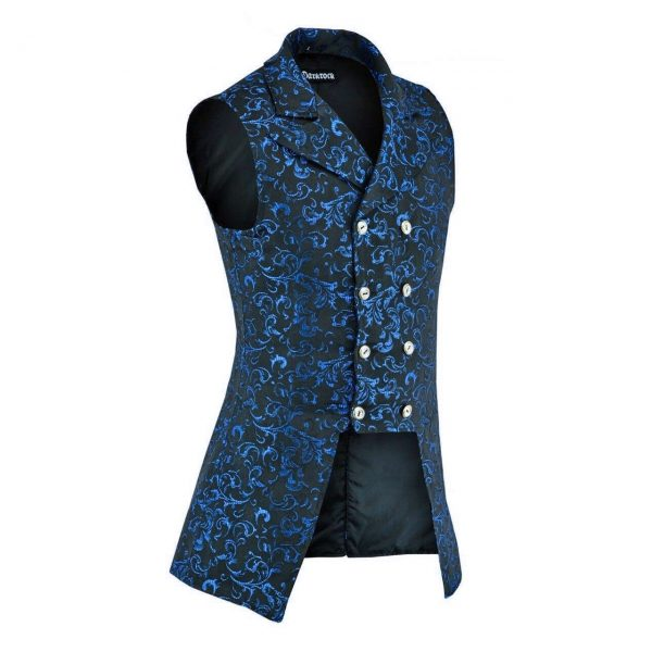 Double Breasted GOVERNOR Vest Waistcoat VTG Blue Brocade Gothic (side)