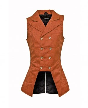 DARKROCK Brown Brocade Double Breasted GOVERNOR Vest Waistcoat (front)