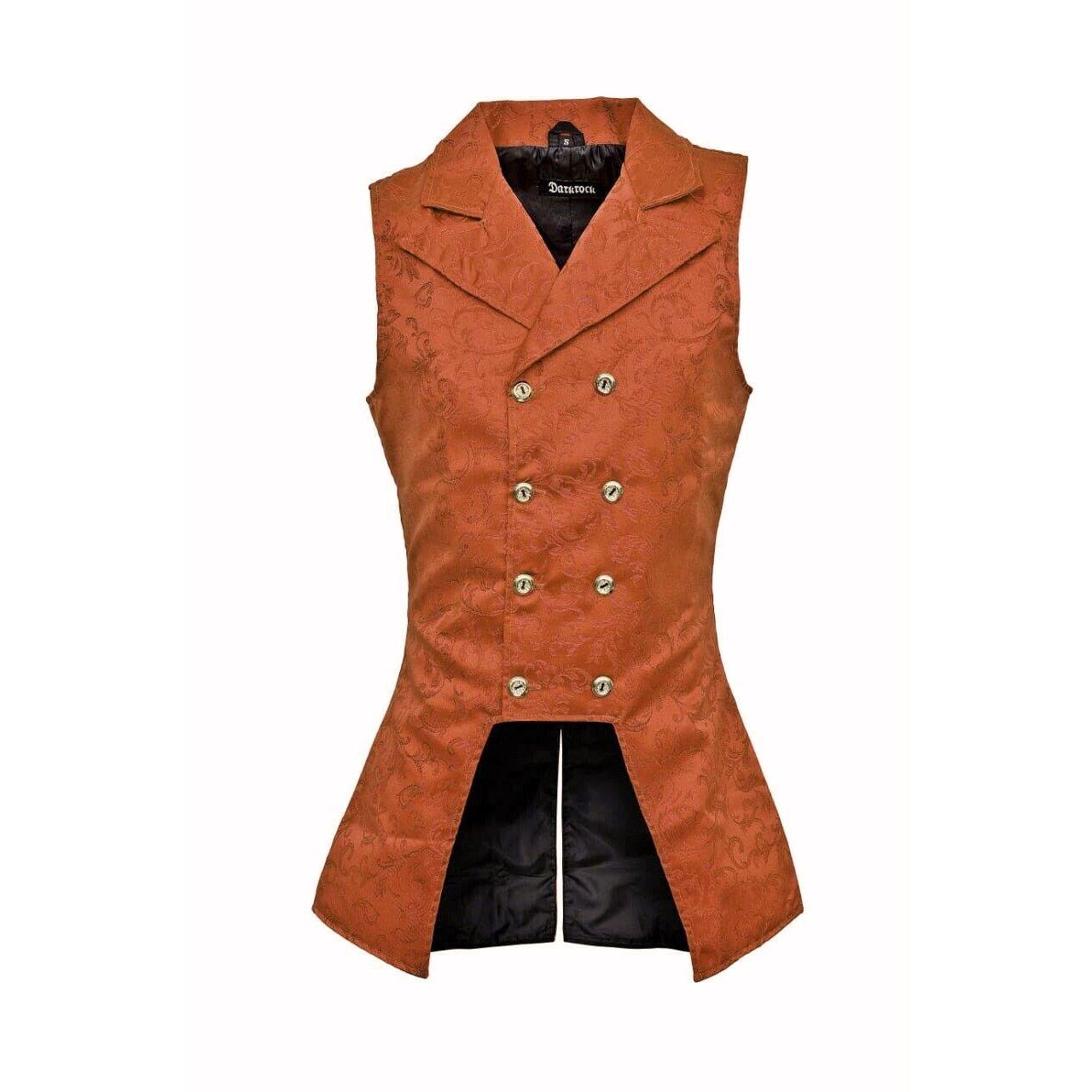 DARKROCK Brown Brocade Double Breasted GOVERNOR Vest Waistcoat (front)
