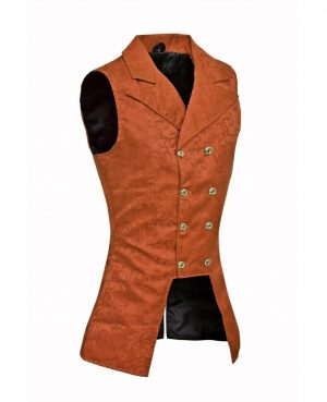 DARKROCK Brown Brocade Double Breasted GOVERNOR Vest Waistcoat (side)