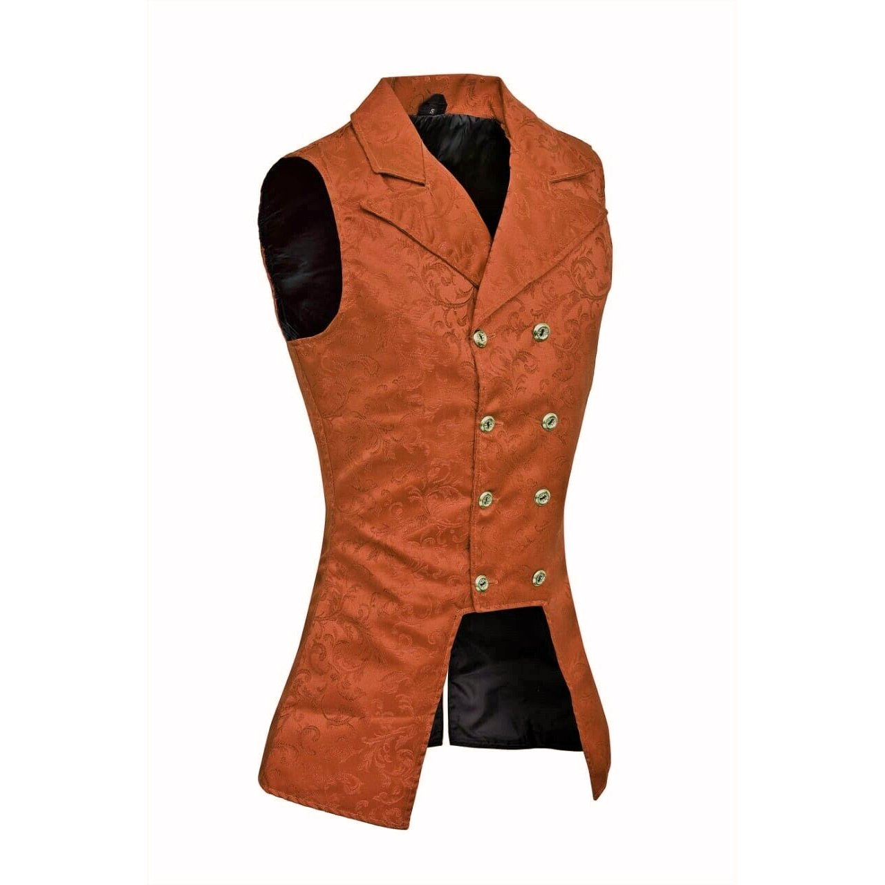 DARKROCK Brown Brocade Double Breasted GOVERNOR Vest Waistcoat (side)