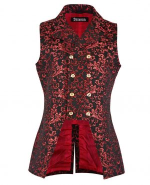 DARKROCK Double Breasted GOVERNOR Vest Waistcoat VTG Brocade Gothic Red Velvet (front)