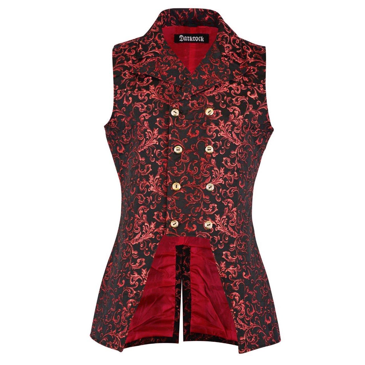 DARKROCK Double Breasted GOVERNOR Vest Waistcoat VTG Brocade Gothic Red Velvet (front)