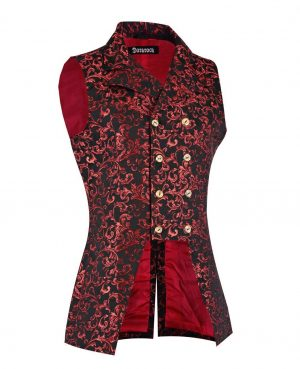 DARKROCK Double Breasted GOVERNOR Vest Waistcoat VTG Brocade Gothic Red Velvet (side)