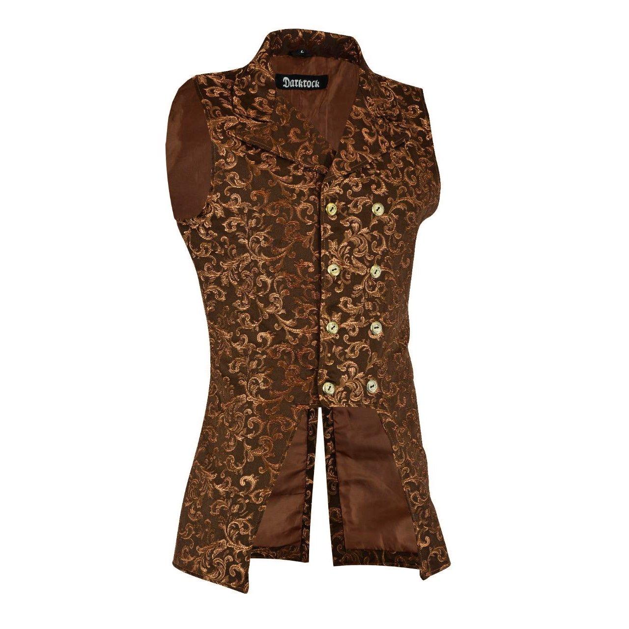 DARKROCK Gold Brocade Double Breasted GOVERNOR Vest Waistcoat(Side) .jpg