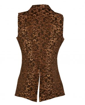 DARKROCK Gold Brocade Double Breasted GOVERNOR Vest Waistcoat(back)