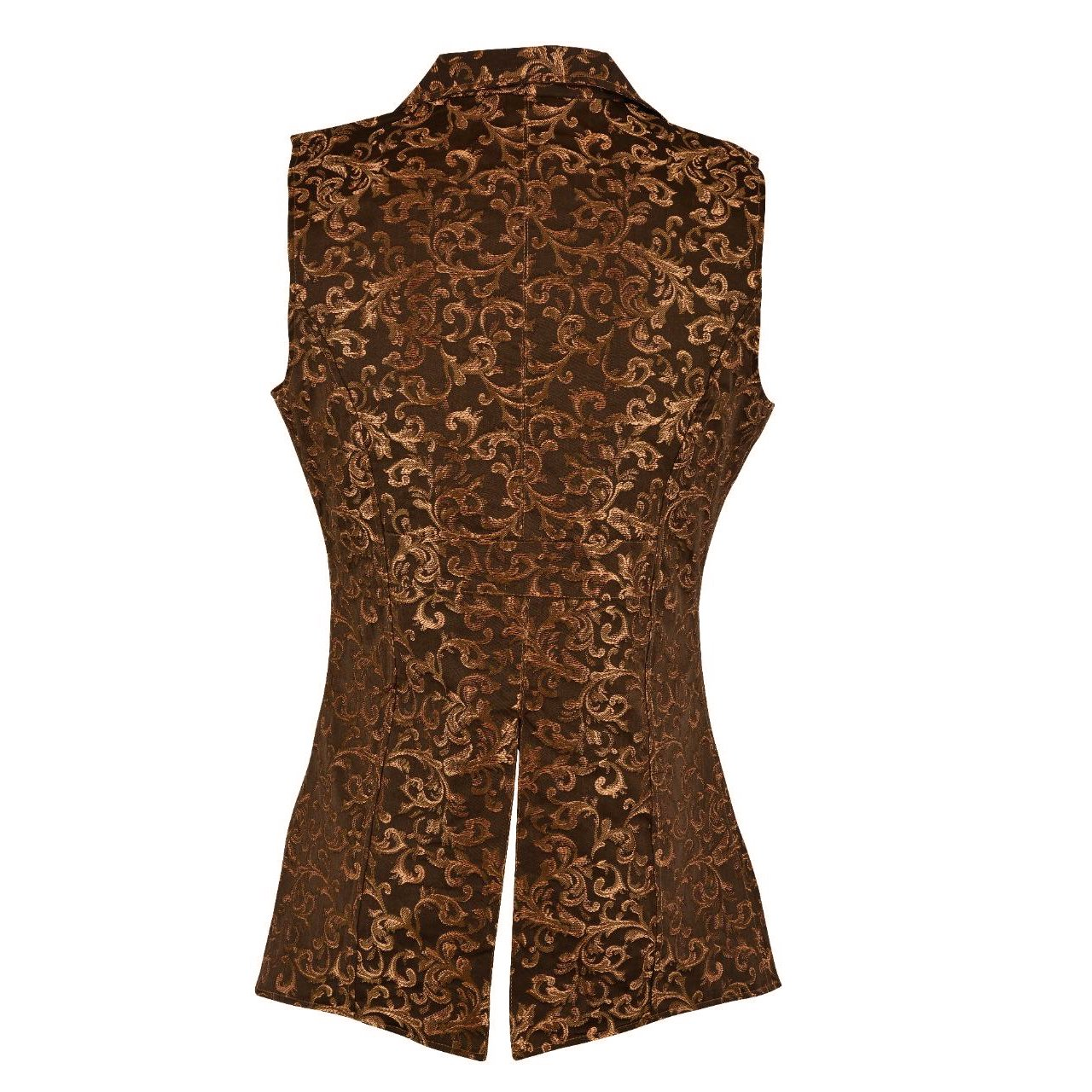 DARKROCK Gold Brocade Double Breasted GOVERNOR Vest Waistcoat(back)