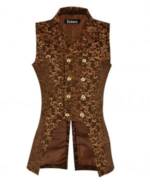 DARKROCK Gold Brocade Double Breasted GOVERNOR Vest Waistcoat(front)
