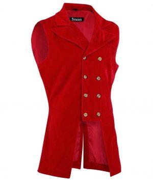 DARKROCK Men's Double Breasted GOVERNOR Vest Waistcoat VTG Red Velvet Brocade(Side)