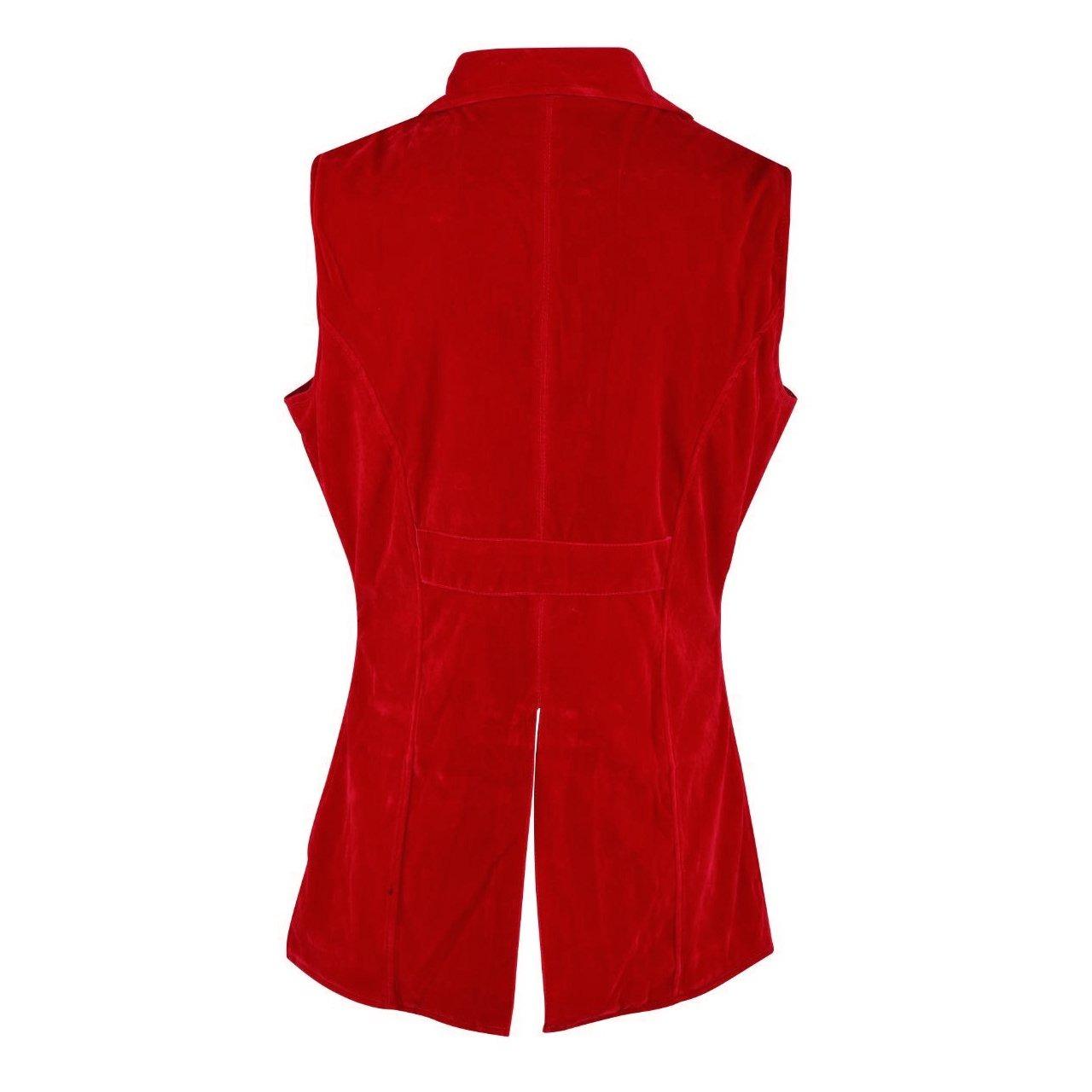 DARKROCK Men's Double Breasted GOVERNOR Vest Waistcoat VTG Red Velvet Brocade(back)