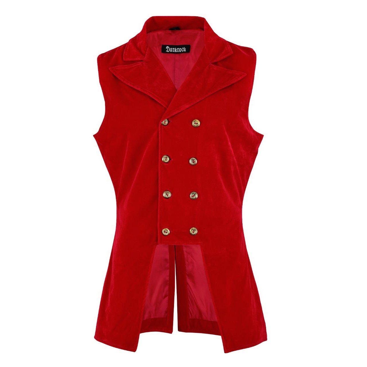 DARKROCK Men's Double Breasted GOVERNOR Vest Waistcoat VTG Red Velvet Brocade(front)
