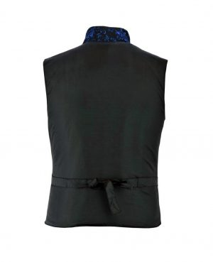 DARKROCK Men's Steampunk Double-breasted Waistcoat Blue Vest GothicWestern-ReenactmentUSA (back)