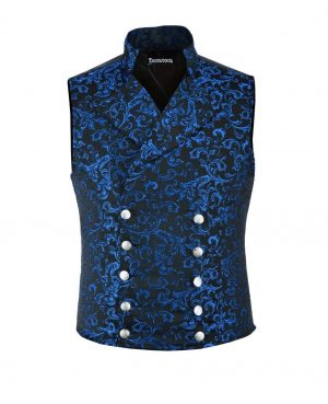 DARKROCK Men's Steampunk Double-breasted Waistcoat Blue Vest GothicWestern-ReenactmentUSA (front)