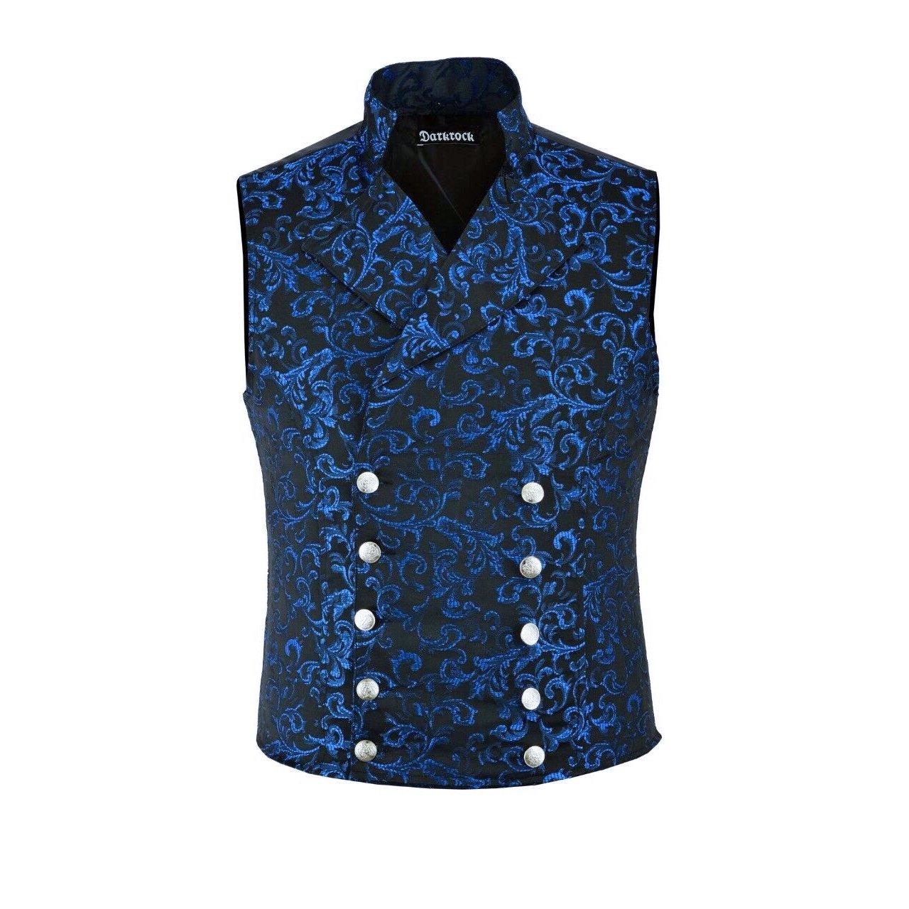 DARKROCK Men's Steampunk Double-breasted Waistcoat Blue Vest GothicWestern-ReenactmentUSA (front)