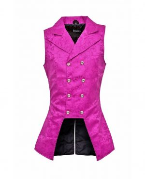 DARKROCK Purple Double Breasted GOVERNOR Vest Waistcoat VTG Brocade Gothic Steampunk(front)