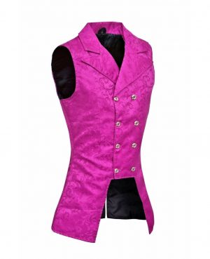 DARKROCK Purple Double Breasted GOVERNOR Vest Waistcoat VTG Brocade Gothic Steampunk(side)