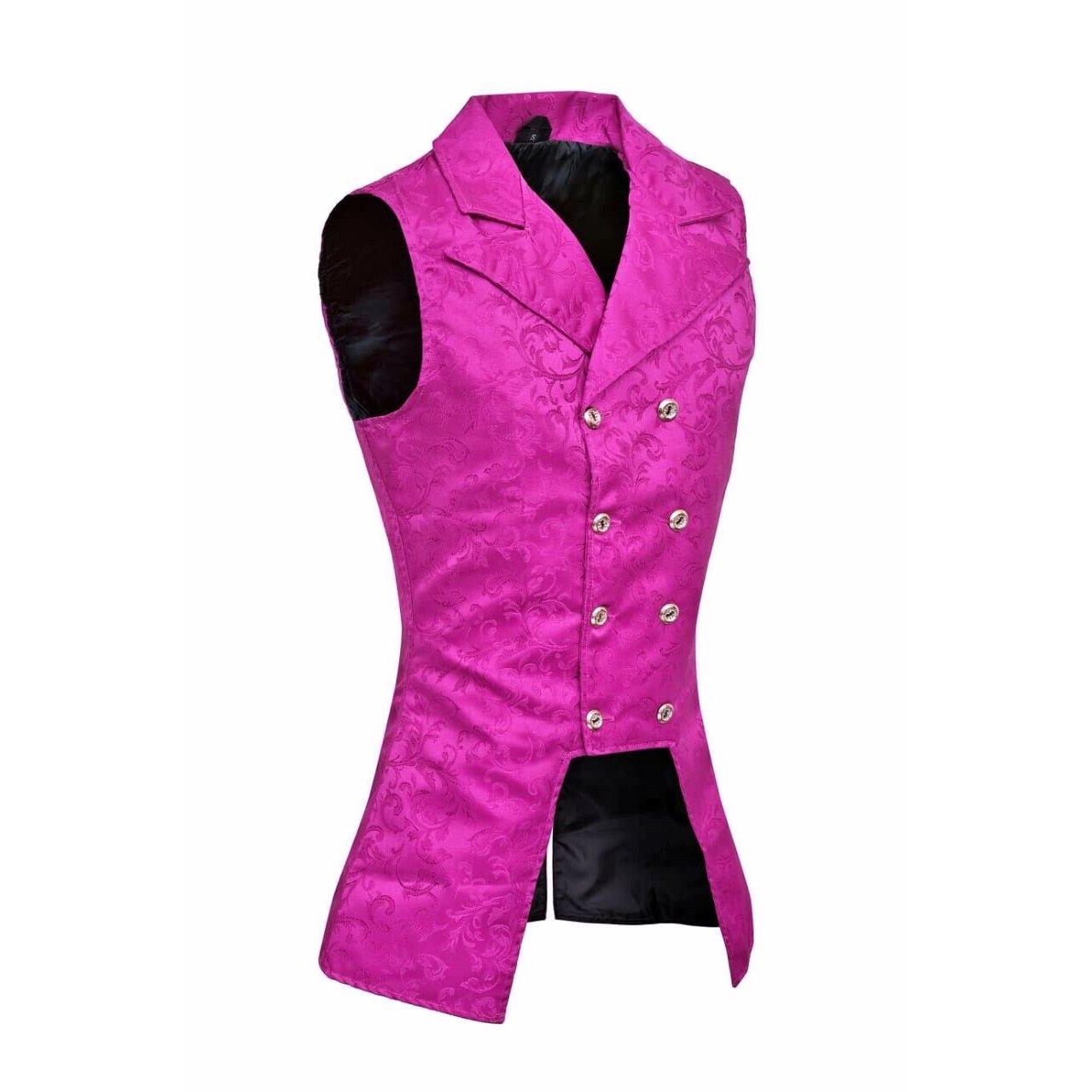 DARKROCK Purple Double Breasted GOVERNOR Vest Waistcoat VTG Brocade Gothic Steampunk(side)