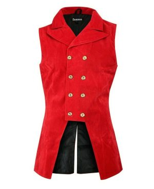 DARKROCK Red Velvet Double Breasted GOVERNOR Vest Waistcoat (front)