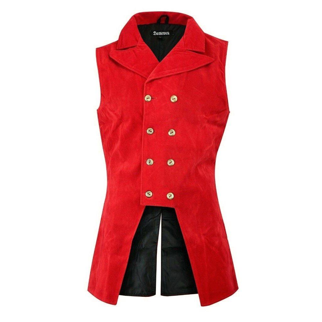 DARKROCK Red Velvet Double Breasted GOVERNOR Vest Waistcoat (front)