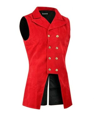 DARKROCK Red Velvet Double Breasted GOVERNOR Vest Waistcoat (side)