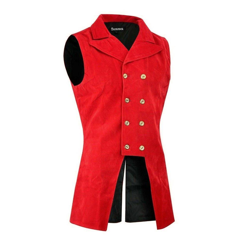 DARKROCK Red Velvet Double Breasted GOVERNOR Vest Waistcoat (side)