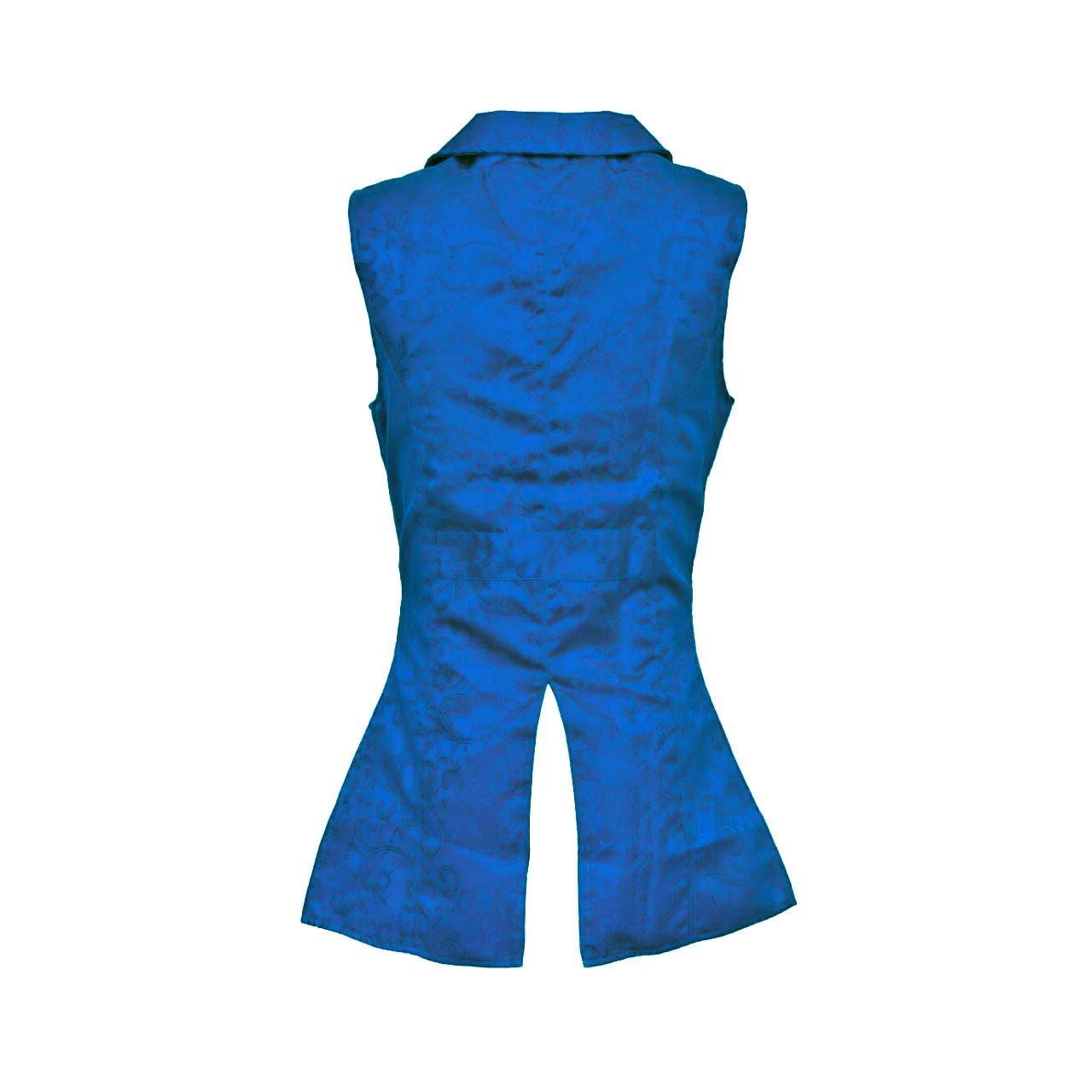 DARKROCK Royal Blue Double Breasted GOVERNOR Vest Waistcoat (back)