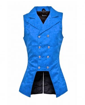 DARKROCK Royal Blue Double Breasted GOVERNOR Vest Waistcoat (front).jpg