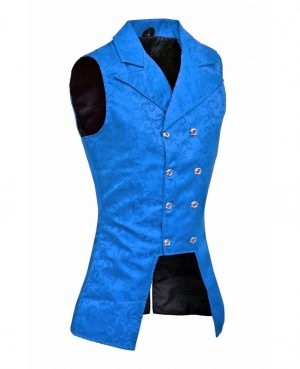 DARKROCK Royal Blue Double Breasted GOVERNOR Vest Waistcoat (side)