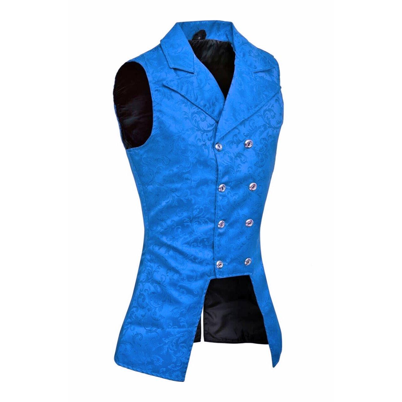 DARKROCK Royal Blue Double Breasted GOVERNOR Vest Waistcoat (side)