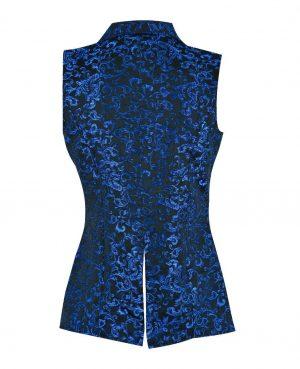 DARKROCK Vest Waistcoat VTG Brocade Gothic SteampunkUSA Blue Brocade (back).jpg