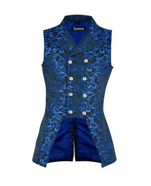 DARKROCK Vest Waistcoat VTG Brocade Gothic SteampunkUSA Blue Brocade (front)