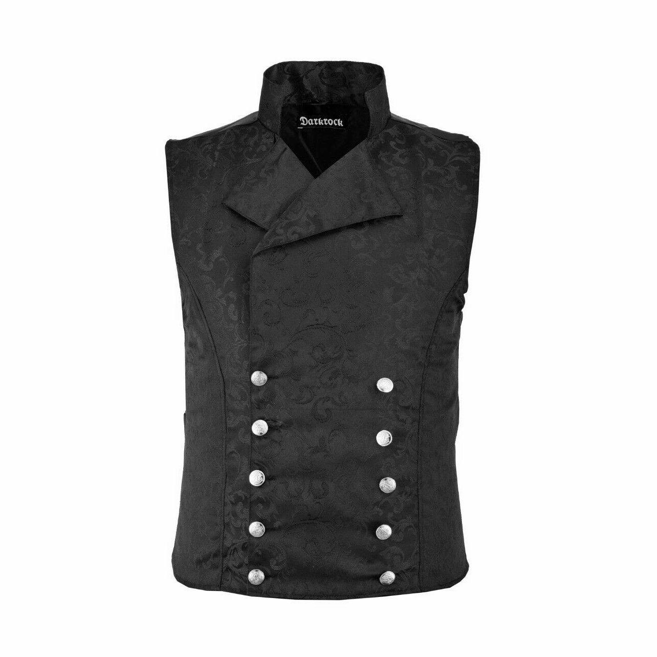 DARKROCK Waistcoat Black Vest GothicWestern-Reenactment (front)