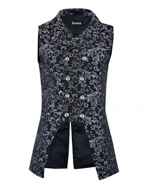 Double Breasted GOVERNOR Silver Vest Waistcoat (Front)