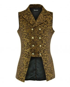 Men's Double Breasted GOVERNOR Vest Waistcoat VTG Gold Brocade Gothic (front)