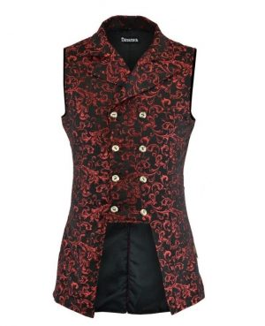 Men's Double Breasted GOVERNOR Vest Waistcoat VTG Red Brocade Gothic Steampunk/USA (Front view)