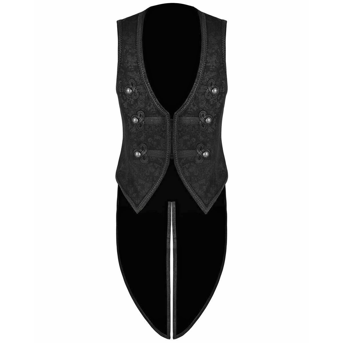 Brocade Vest Waistcoat Tailcoat Black Damask Velvet Gothic Steampunk (2)