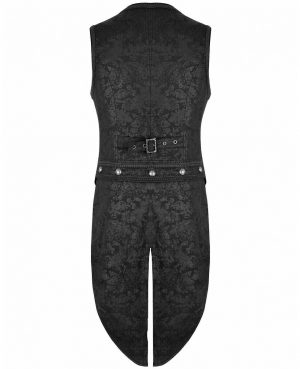 Brocade Vest Waistcoat Tailcoat Black Damask Velvet Gothic Steampunk (back)