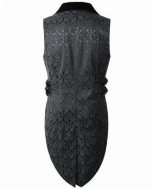 DARKROCK Brocade Vest Waistcoat Tailcoat Black Velvet Gothic Steampunk (back)