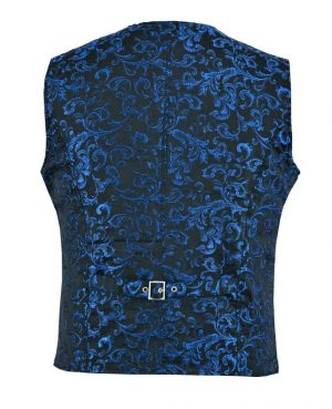 DARKROCK Designer Stylish Casual Brocade Vest -Blue (back)