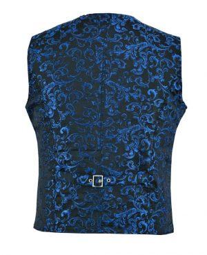 DARKROCK Designer Stylish Casual Brocade Vest -Blue (back)