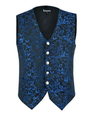 DARKROCK Designer Stylish Casual Brocade Vest -Blue (front)