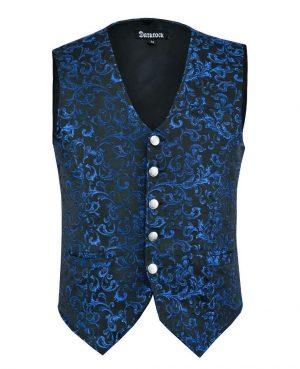 DARKROCK Designer Stylish Casual Brocade Vest -Blue (front)