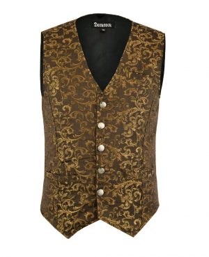 DARKROCK Designer Stylish Casual Brocade Vest -Gold (front)
