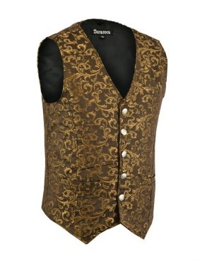 DARKROCK Designer Stylish Casual Brocade Vest -Gold (side)