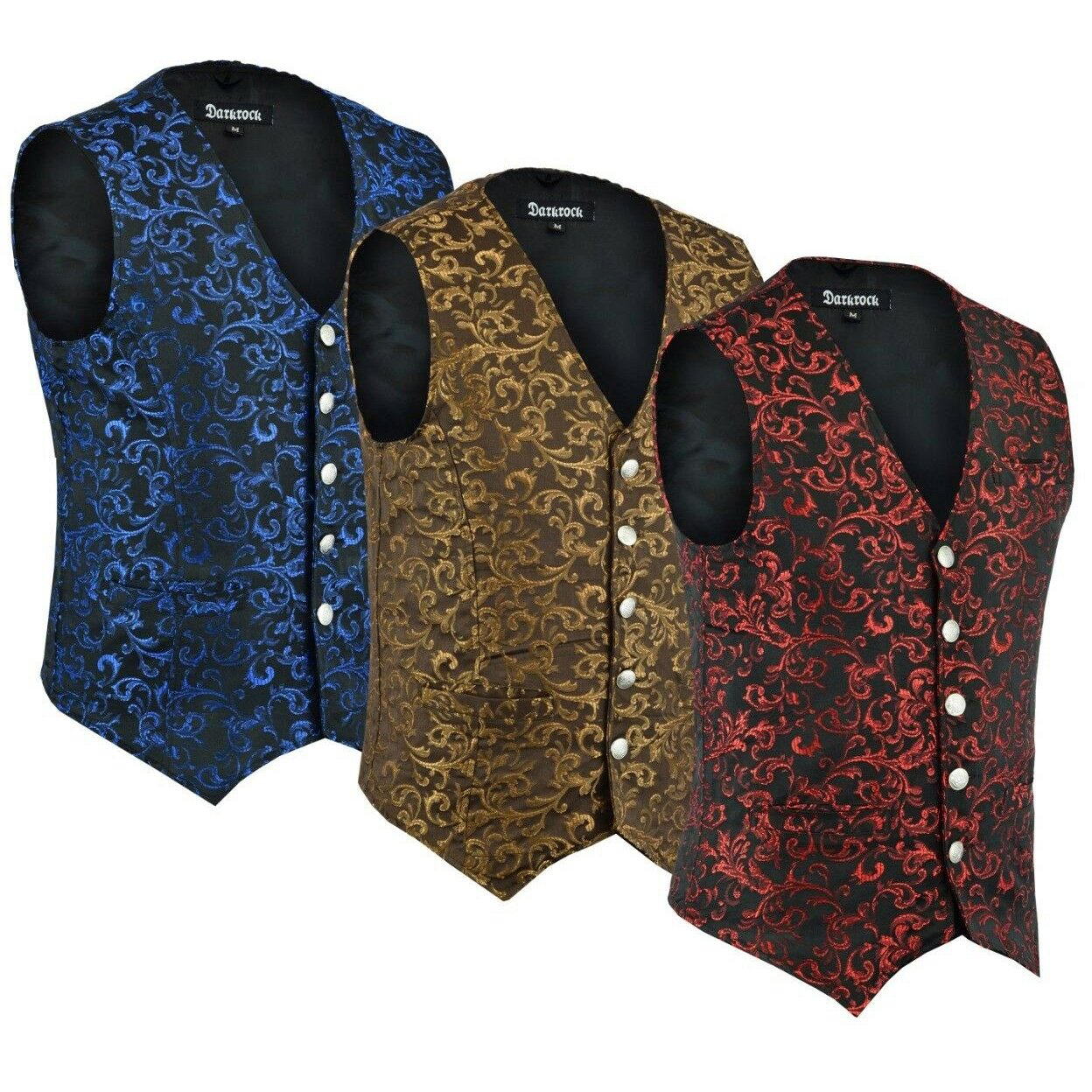 DARKROCK Designer Stylish Casual Brocade Vest - available colors
