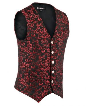 DARKROCK Designer Stylish Casual Brocade Vest - red (side)