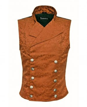 DARKROCK Double-breasted Waistcoat Brown Vest Gothic(front)