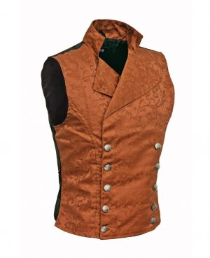 DARKROCK Double-breasted Waistcoat Brown Vest Gothic(side)