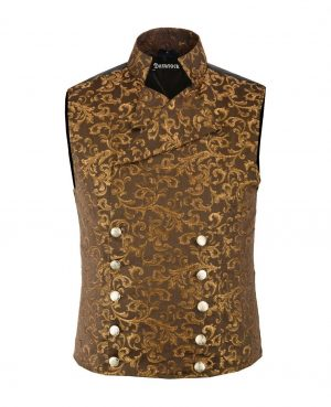 DARKROCK Double-breasted Waistcoat Gold Vest Gothic(front)